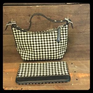 Coach houndstooth handbag and pouch.